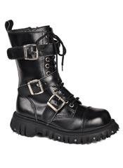 T.U.K. 3 strap black buckle boots