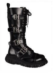T.U.K. 4 strap black buckle boots