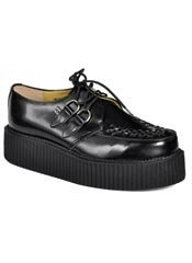 T.U.K. Black Leather Creeper Shoes