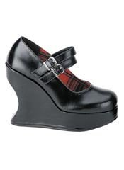 BRAVO-08 Black PU Wedge