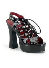 DEMON-17 Black Laceup Heels