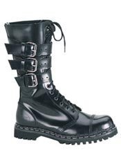 GRAVEL-14 Black Leather Boots