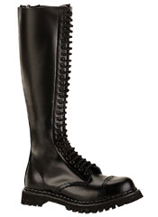 ROCKY-30  Black leather 30 eyelet boots