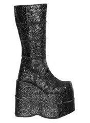 STACK-301G Black Glitter Platform Boots