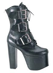 TORMENT-703 Black Buckle Boots