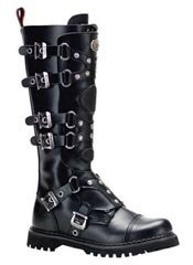 GRAVEL-22 Black Leather Boots