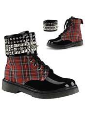 RAGE-106 plaid pyramid boots
