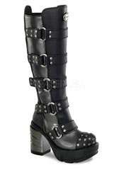 SINISTER-302 Chromed Studded Boots