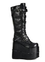 STACK-308 Black PU Platforms