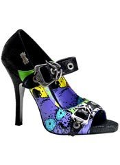 ZOMBIE-09 Black Graffiti Heels