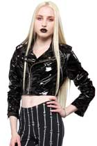 Vinyl Cropped Moto Jacket