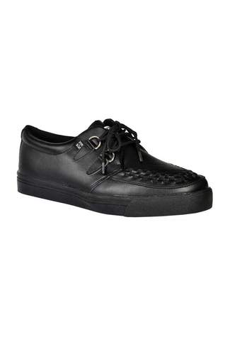 T.U.K. Black Leather Creeper Sneakers