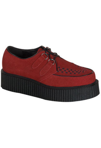 CREEPER-402S red suede creepers