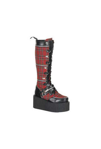 CREEPER-812 Plaid PU Creeper Boots