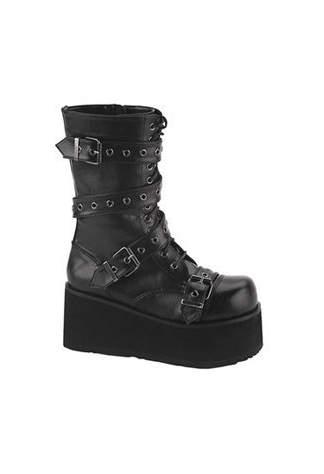 TRASHVILLE-205 Black Strap Boots
