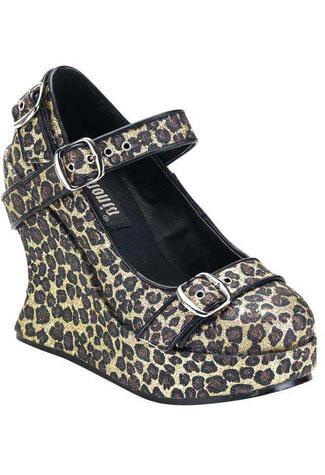 BRAVO-10G Glitter Leopard Wedges