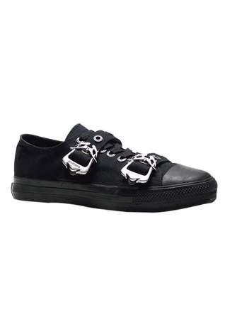 DEVIANT-11 Black Buckle Sneakers