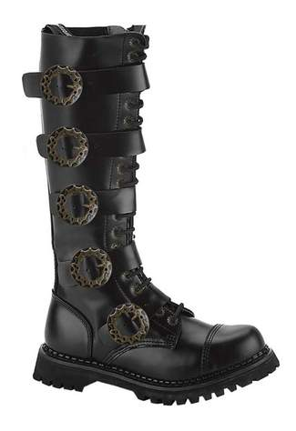 STEAM-20 Black Leather Boots