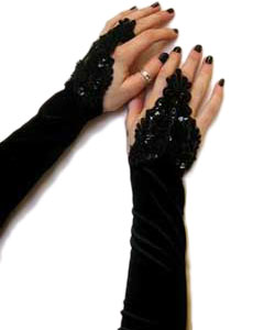 Velvet long f-loop lolita gloves-Black