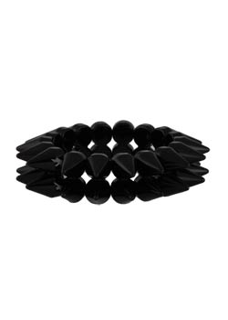 2 Row Glossy Black Bracelet
