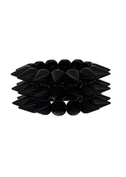 3 Row Glossy Black Bracelet