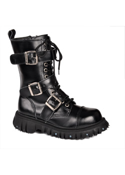 T.U.K. 3 Strap Black Buckle Boots