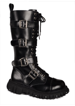T.U.K. 4 Strap Black Buckle Boots