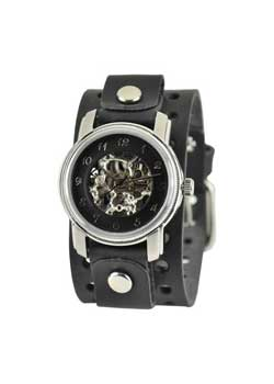 Mechanical Black Skeleton Leather Watch