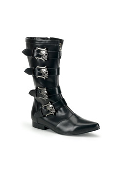 BROGUE-107 Black Skull Boots