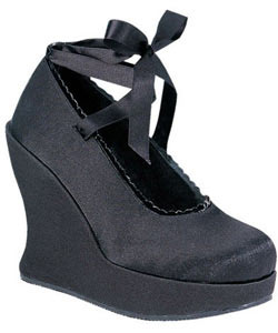 BRAVO-07 Black Satin Wedge