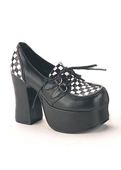 CHARADE-12 Checkered Platform Heels