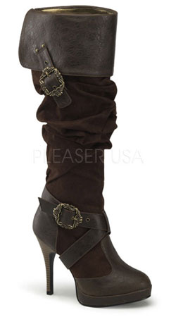 CARRIBEAN-216 Brown Buckle Boots
