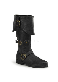 CARRIBEAN-299 Black Buckle Boots