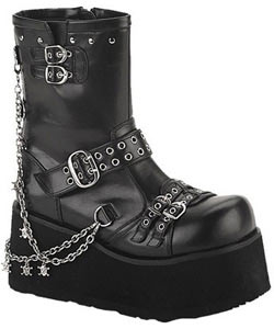 CLASH-430 Black Chain Boots