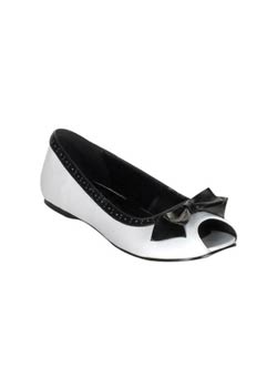 DAISY-64 Open Toe Black Bow Flat