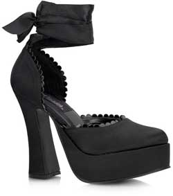 DOLLY-82 Black Satin Heels