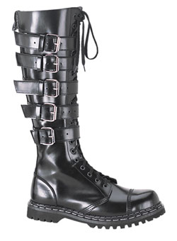 GRAVEL-20 Black Leather Boots