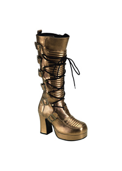 GOTHIKA-200 Bronze Platform Boots