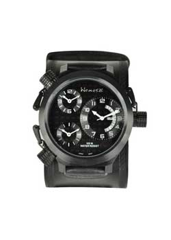 3-Zone All Black Leather Band Watch