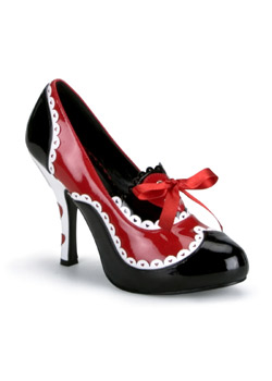 QUEEN-03 Black Red Pumps