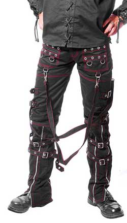 Red Punk Star Bondage Trousers