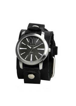 Roman Black Leather Cuff Watch