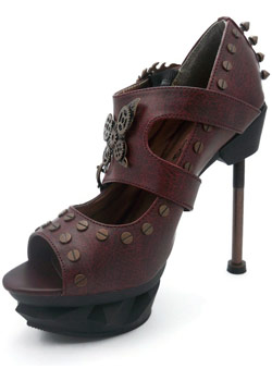 Sky Captain Burgundy Stilettos