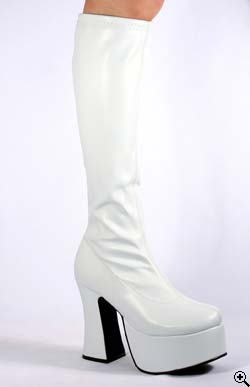 SLICK-100 White PU Platform Boots