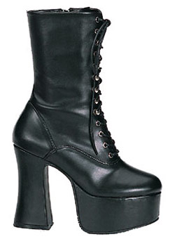 SLUSH-62 Black Laceup Platforms