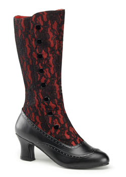 SPOOKY-160 Red Lace Boots