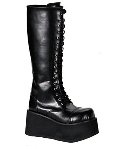 TRASHVILLE-502 Black Platform Boots