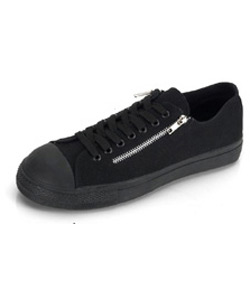 TYRANT-06ST Black Zipper Sneakers