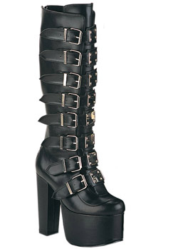 TORMENT-804 Black Buckle Boots
