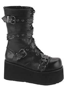 TRASHVILLE-205 Black Strap Boots